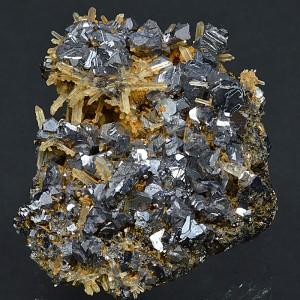 Iron oxide Calcite, Quartz, Twinned Galena
