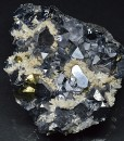 Truncated Galena, Chalcopyrite, Calcite