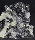 Sphalerite, thin Galena plate , iridescent Chalcopyrite, Quartz, Pyrite