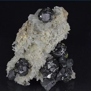 gem Sphalerite var.Cleiophane, Galena, Quartz, Chalcopyrite, Calcite