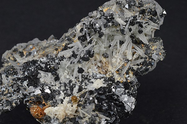 Thin Galena plate, Sphalerite, iridescent Chalcopyrite, Quartz, Calcite