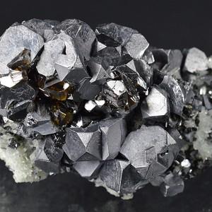 Twinned and truncated Galena, gem Sphalerite var.Cleiophane, Quartz