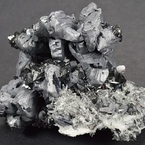 Melted habit Galena, Sphalerite, Quartz, Calcite