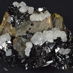 Iridescent Chalcopyrite, truncated Sphalerite, Calcite