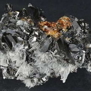 Sphalerite tetrahedron, iridescent Pyrite, Quartz, Galena