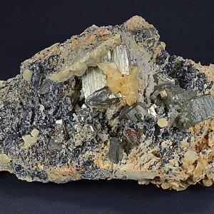 Pyrite set on Calcite and Sphalerite, Quartz