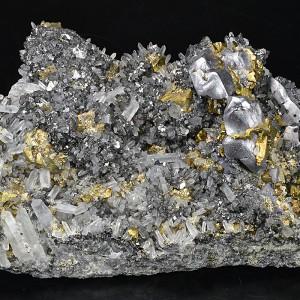 Melted habit Galena, Chalcopyrite, Sphalerite, Pyrite, Quartz, Calcite