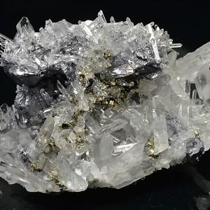 Quartz and Pyrite set on Galena