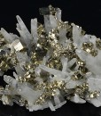 Pyrite set on Quartz, Calcite