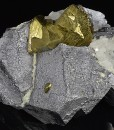 Chalcopyrite, Quartz set on Galena