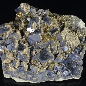 Truncated Galena, Chalcopyrite, Calcite