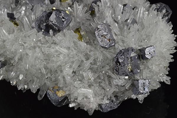Truncated Galena set on Quartz, Chalcopyrite