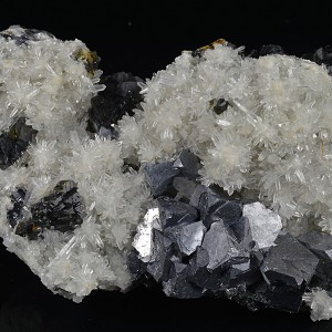 Truncated Galena, Sphalerite set on Quartz