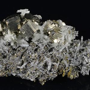 Pyrite set on Quartz, Chalcopyrite, Sphalerite