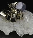 Truncated Galena, Pyrite on Quartz