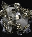 Pyrite, Galena on Quartz and Calcite