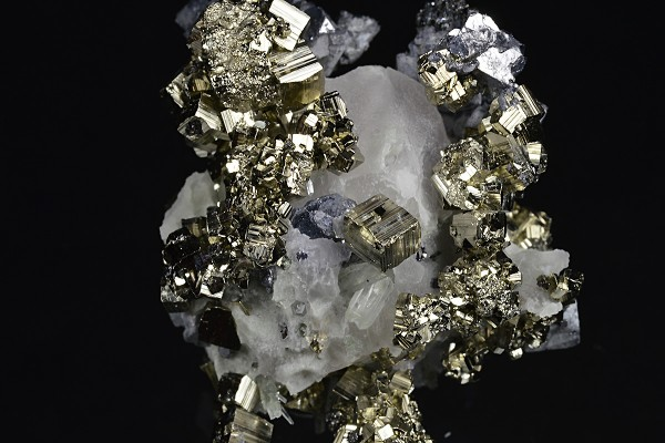 Pyrite, Galena on Quartz and Calcite