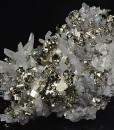 Pyrite on Quartz with Calcite