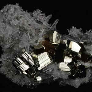 Pyrite on Quartz, Galena, Sphalerite