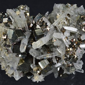 Bi-terminated Quartz with inclusions, Pyrite,Calcite