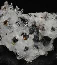 Quartz, Sphalerite octahedrons,Chalcopyrite