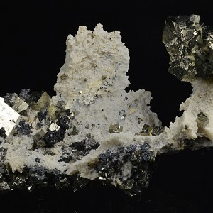 Pyrite, Galena and Sphalerite on Calcite