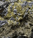Chalcopyrite, truncated Galena, Pyrite, Cleiophane