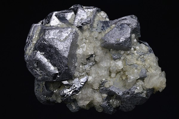 Twinned and truncated Galena, Calcite