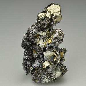 Pyrite, gem Sphalerite var.Cleiophane, Quartz, Galena, Chalcopyrite