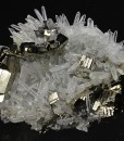 Pyrite on Quartz, Calcite, Sphalerite