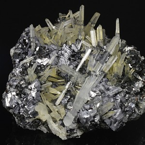 Quartz on twinned Galena, Sphalerite, Chalcopyrite
