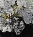 Quartz, Pyrite, thin Galena plate, Sphalerite