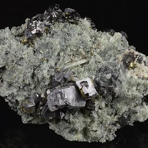 Truncated Galena, Quartz, Sphalerite, Chalcopyrite