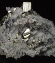 Pyrite on Quartz, Sphalerite, Calcite