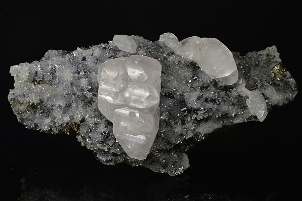 Calcite on Quartz, Pyrite, Sphalerite
