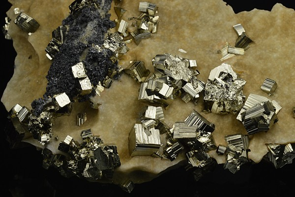 Pyrite on matrix, Calcite,Sphalerite,Quartz