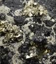 Pyrite on Sphalerite, Quartz
