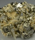Pyrite, Quartz on Calcite