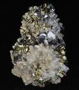 Truncated Galena, Pyrite on Quartz, Calcite