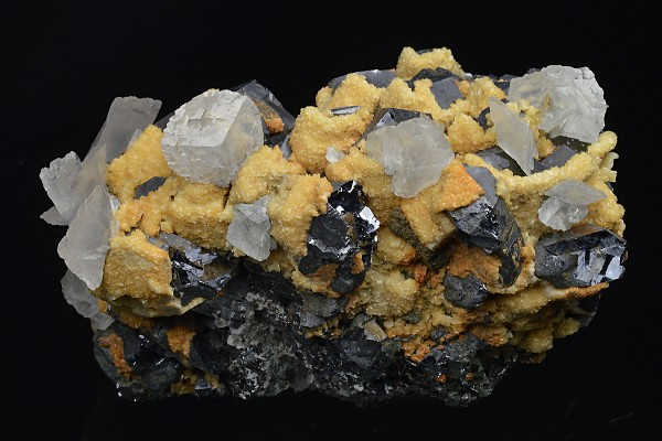 Truncated Galena, two generations Calcite