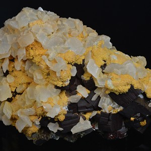 Pyrite, two generations Calcite