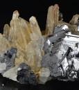 Quartz on twinned Galena, Calcite