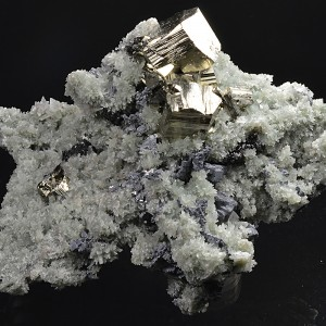 Pyrite on Quartz, Skeletal Galena, Sphalerite