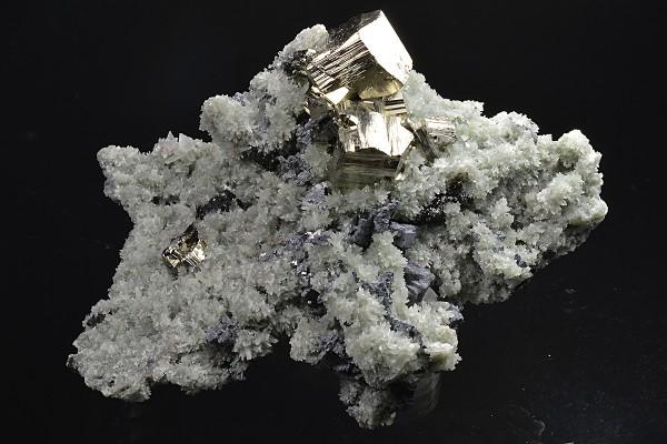 Pyrite on Quartz, Skeletal Galena, Sphalerite