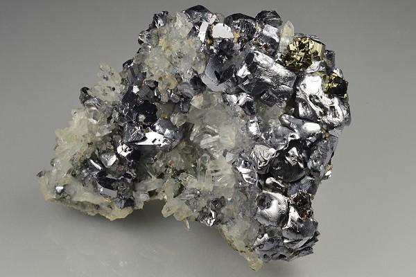 Twinned Galena, Pyrite, Quartz