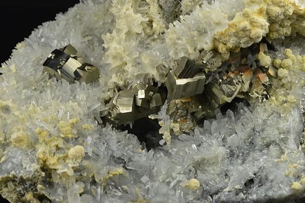 Pyrite on Quartz, Calcite, Sphalerite