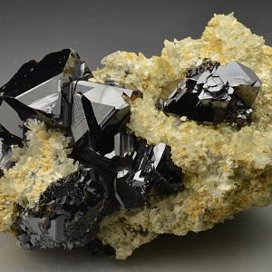 Sphalerite on Quartz, Calcite