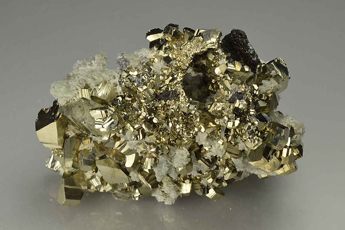 healing stones top collection  673 Shiny Pyrite with Sphalerite Needle Quartz and Chlorite Golden Pyrite Cluster bulgaria minerals