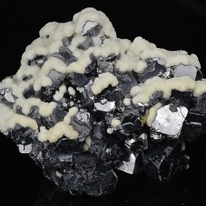 Calcite on truncated Galena, Sphalerite