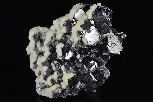 Calcite on truncated Galena, Sphalerite